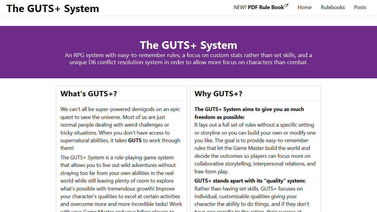 Screenshot of The GUTS+ System
